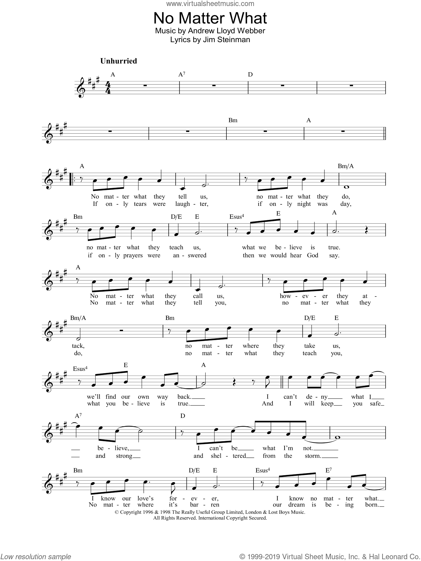 No Matter What sheet music for voice and other instruments (fake book) by Boyzone, intermediate skill level