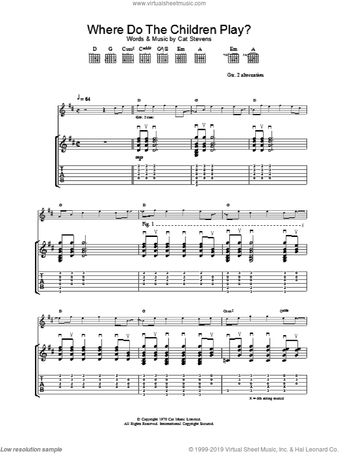 Where Do The Children Play? sheet music for guitar (tablature) by Cat Stevens. Score Image Preview.