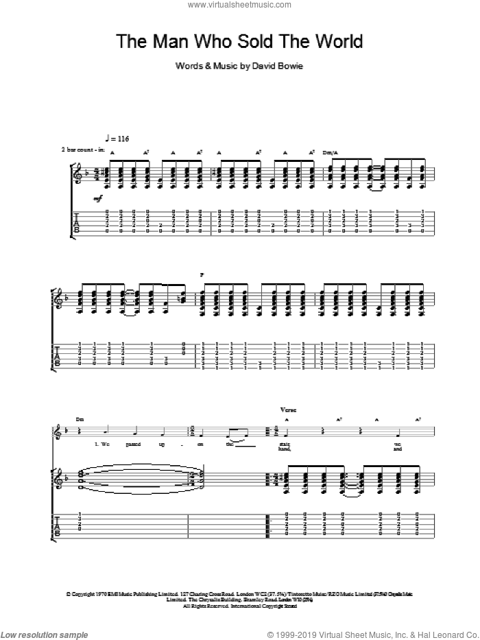 The Man Who Sold The World sheet music for guitar (tablature) by David Bowie. Score Image Preview.