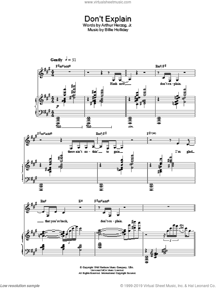 Don't Explain sheet music for voice, piano or guitar by Nina Simone, intermediate. Score Image Preview.