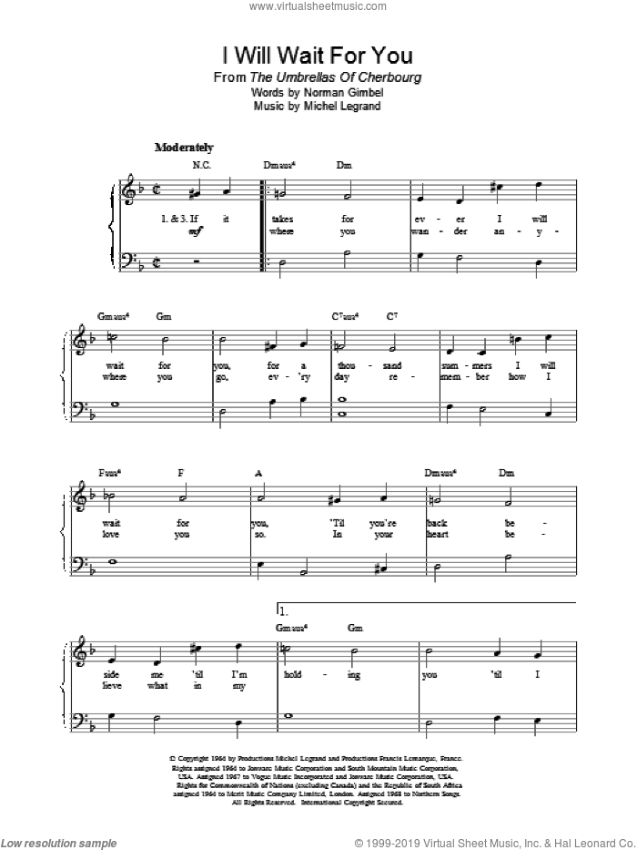 I Will Wait For You sheet music for piano solo by Michel Legrand and Norman Gimbel, intermediate piano. Score Image Preview.