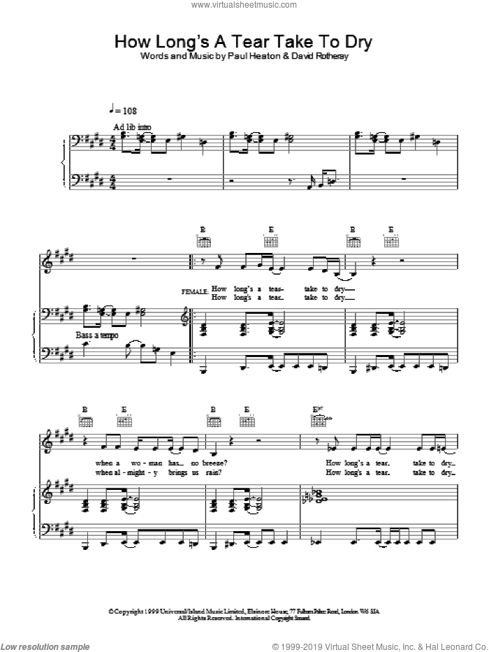 How Long's A Tear Take To Dry? sheet music for voice, piano or guitar by The Beautiful South