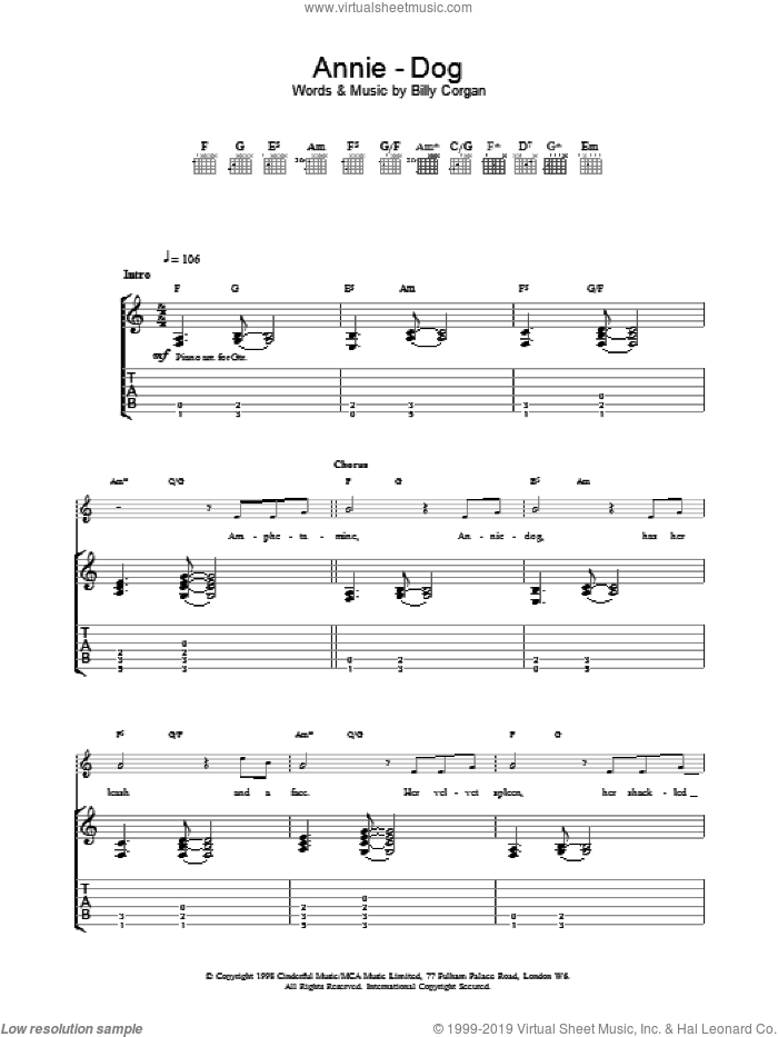 Annie-Dog sheet music for guitar (tablature) by The Smashing Pumpkins, intermediate guitar (tablature). Score Image Preview.