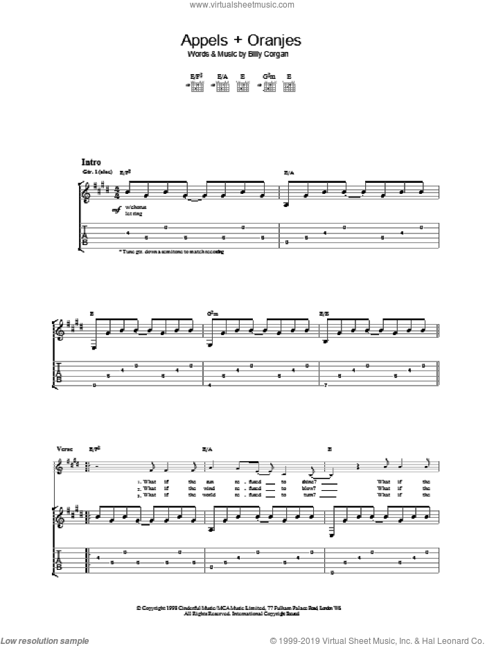 Appels + Oranjes sheet music for guitar (tablature) by The Smashing Pumpkins. Score Image Preview.