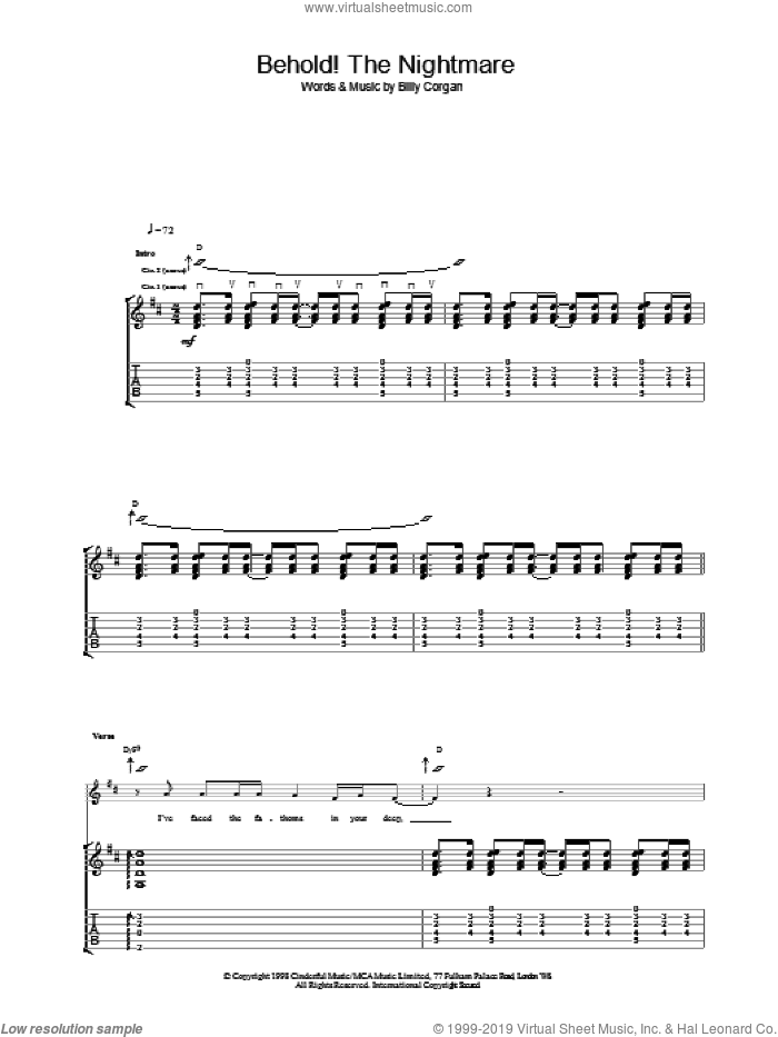 Behold! The Nightmare sheet music for guitar (tablature) by The Smashing Pumpkins. Score Image Preview.