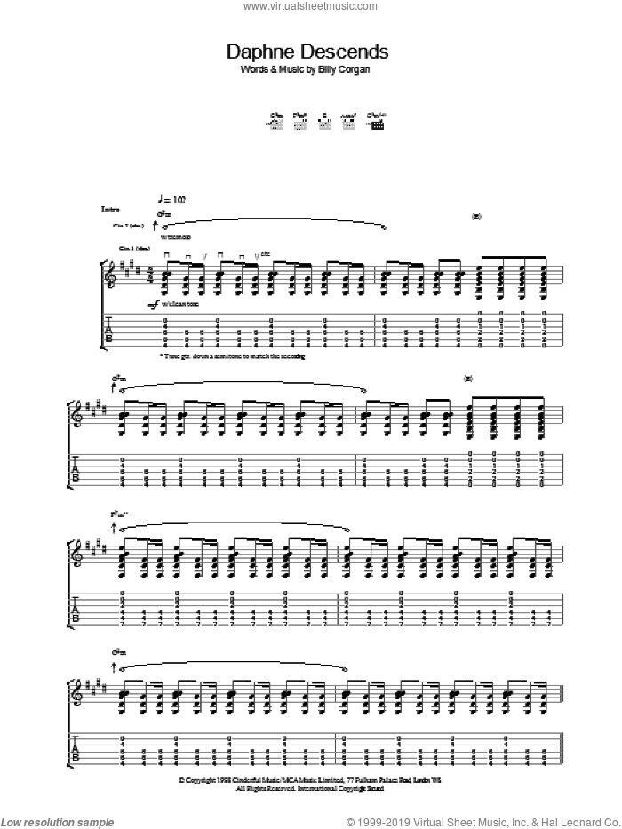 Daphne Descends sheet music for guitar (tablature) by The Smashing Pumpkins. Score Image Preview.