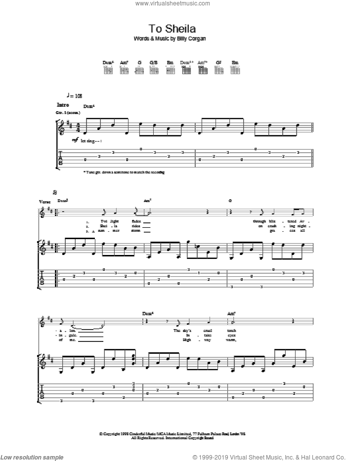 To Sheila sheet music for guitar (tablature) by The Smashing Pumpkins. Score Image Preview.