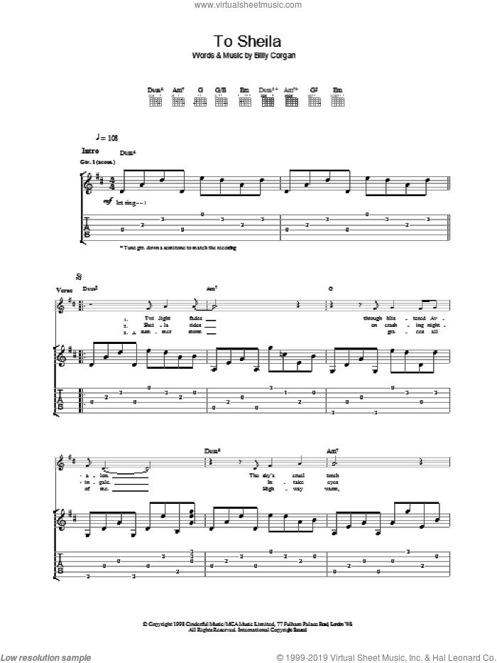 To Sheila sheet music for guitar (tablature) by The Smashing Pumpkins, intermediate skill level