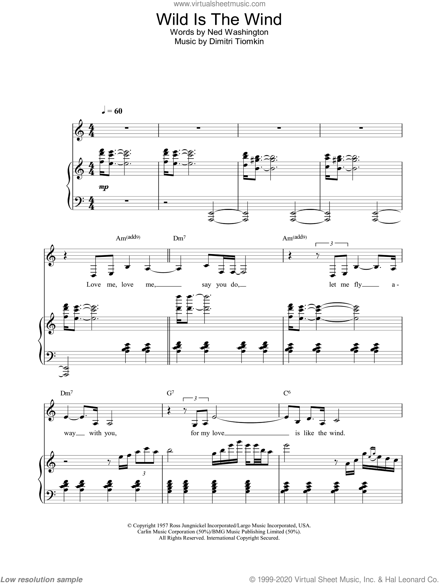 Wild Is The Wind sheet music for voice, piano or guitar by Nina Simone, intermediate skill level