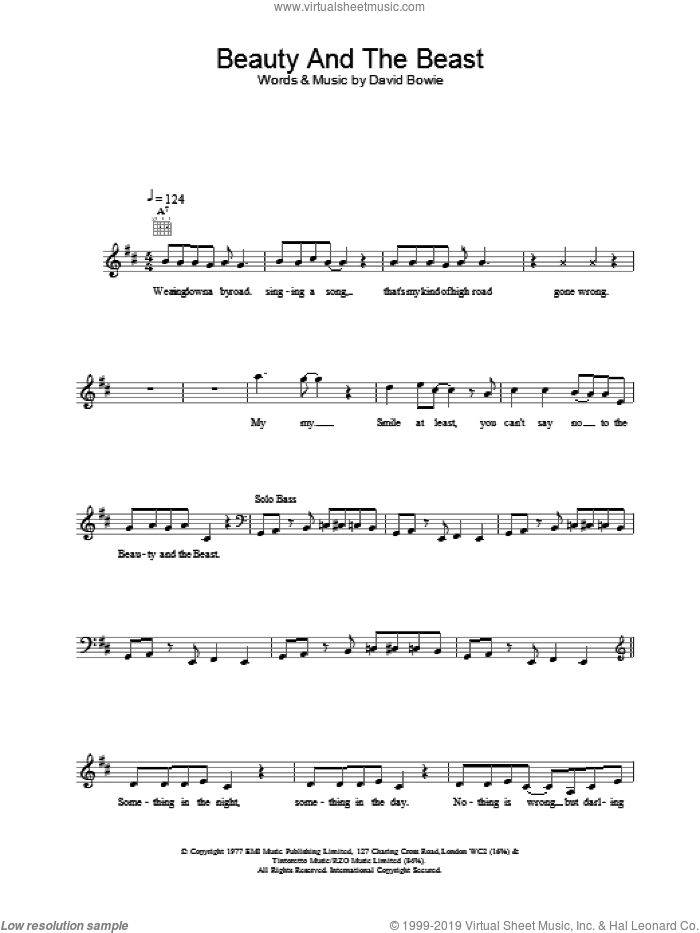Beauty And The Beast sheet music for voice and other instruments (fake book) by David Bowie, intermediate voice. Score Image Preview.