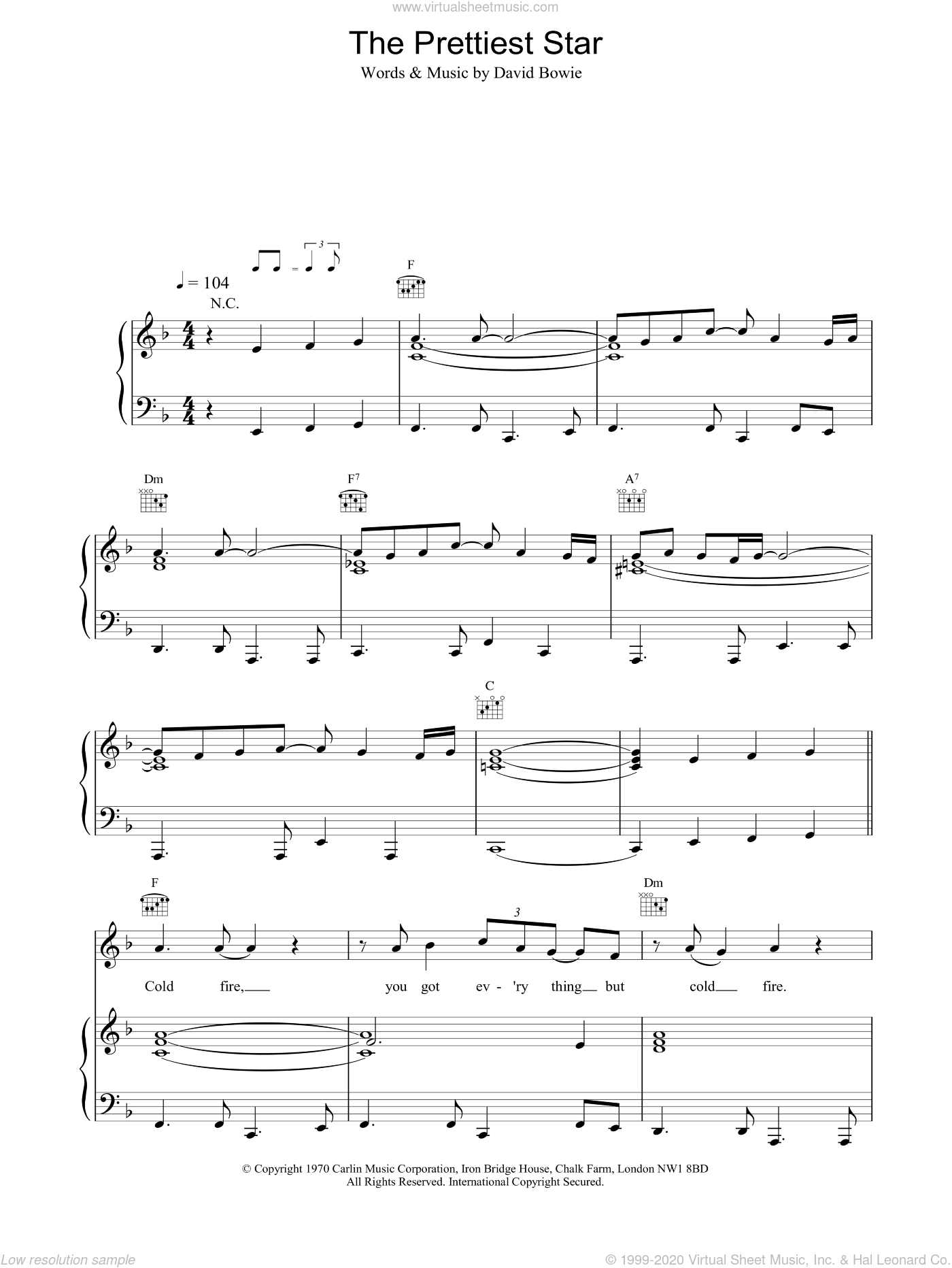 The Prettiest Star sheet music for voice, piano or guitar by David Bowie, intermediate. Score Image Preview.