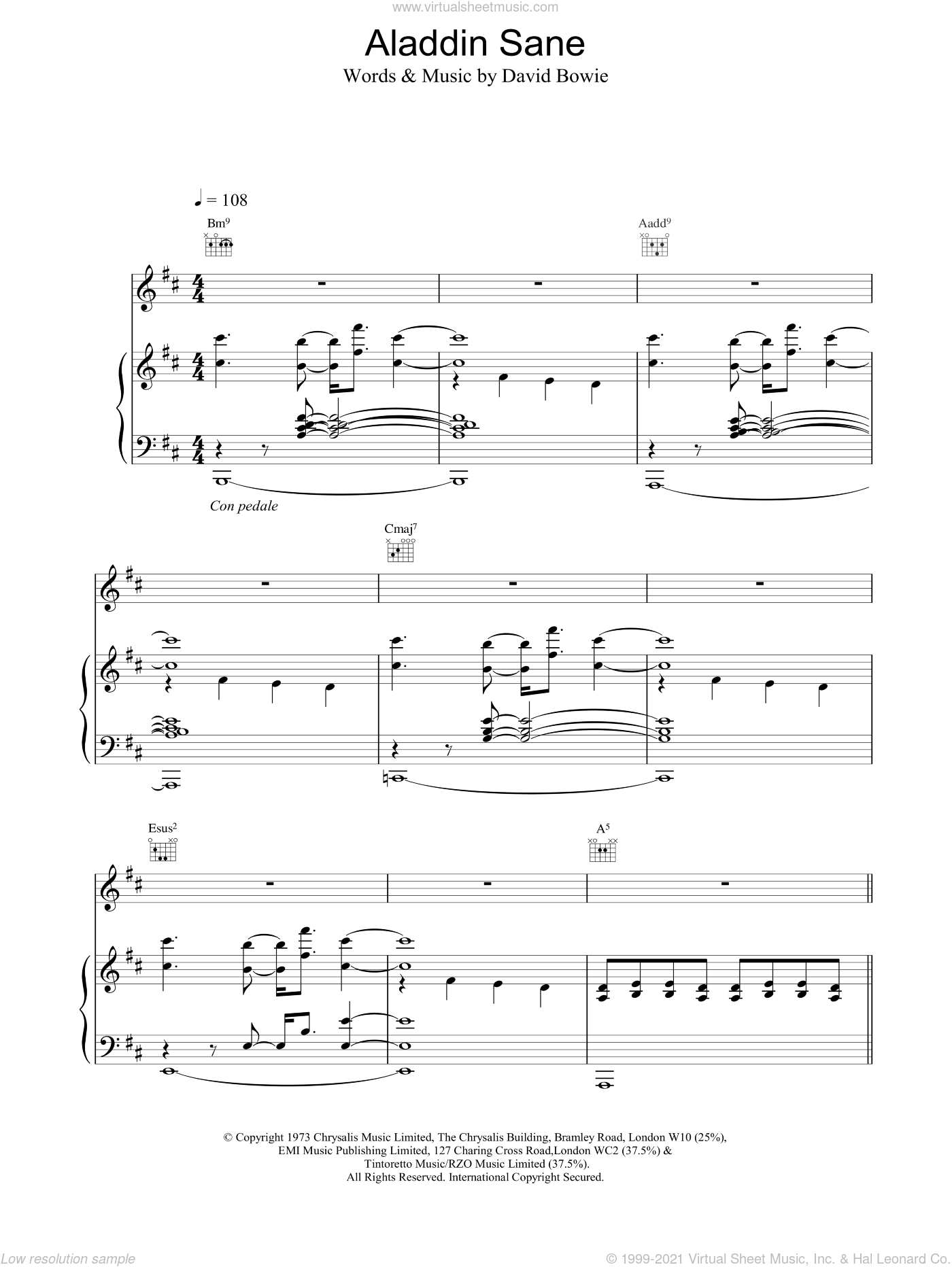Bowie - Aladdin Sane sheet music for voice, piano or guitar [PDF]