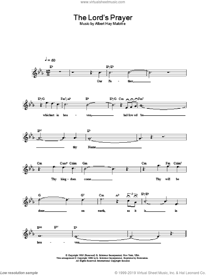 The Lord's Prayer sheet music for voice and other instruments (fake book) by Charlotte Church. Score Image Preview.