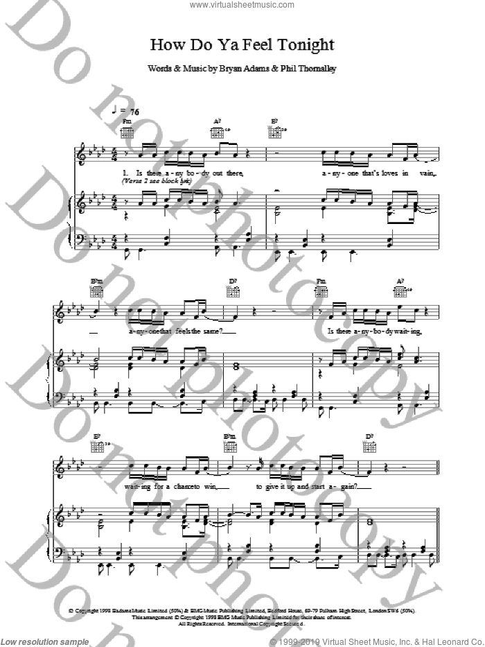 How Do Ya Feel Tonight sheet music for voice, piano or guitar by Bryan Adams. Score Image Preview.