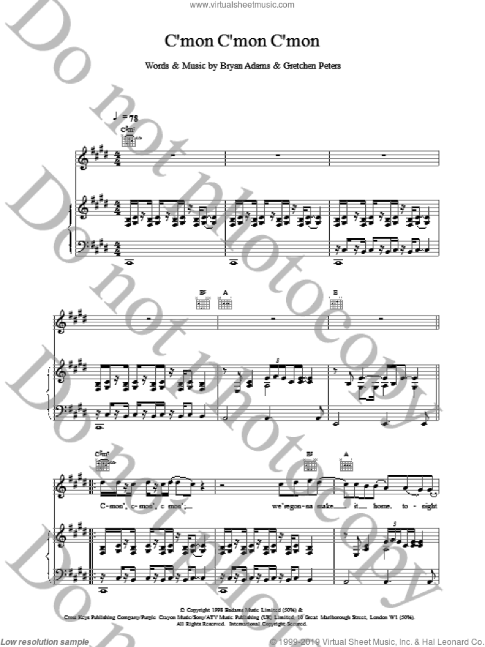 C'mon C'mon C'mon sheet music for voice, piano or guitar by Bryan Adams. Score Image Preview.