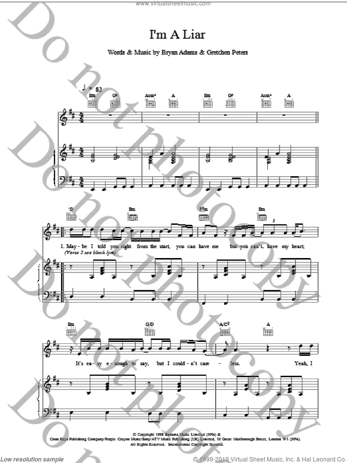 I'm A Liar sheet music for voice, piano or guitar by Bryan Adams