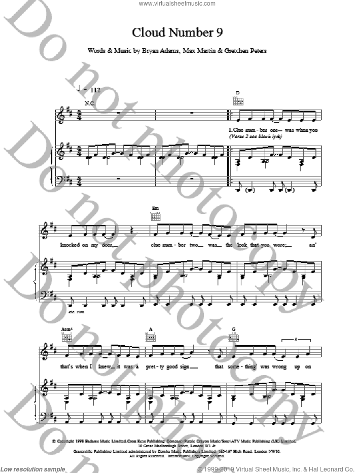 Cloud Number Nine sheet music for voice, piano or guitar by Bryan Adams