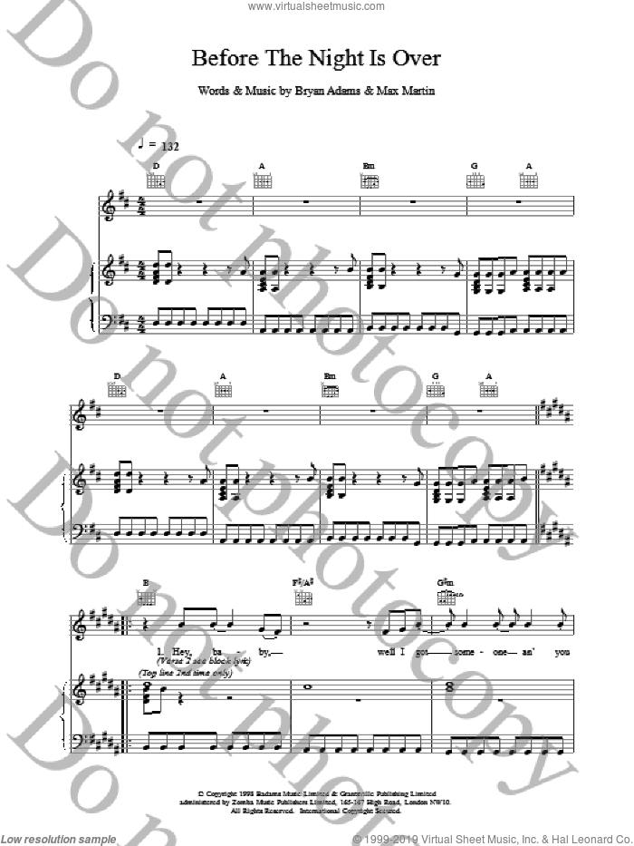 Before The Night Is Over sheet music for voice, piano or guitar by Bryan Adams, intermediate voice, piano or guitar. Score Image Preview.