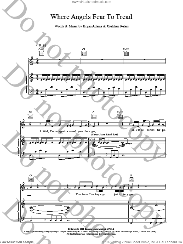 Where Angels Fear To Tread sheet music for voice, piano or guitar by Bryan Adams. Score Image Preview.