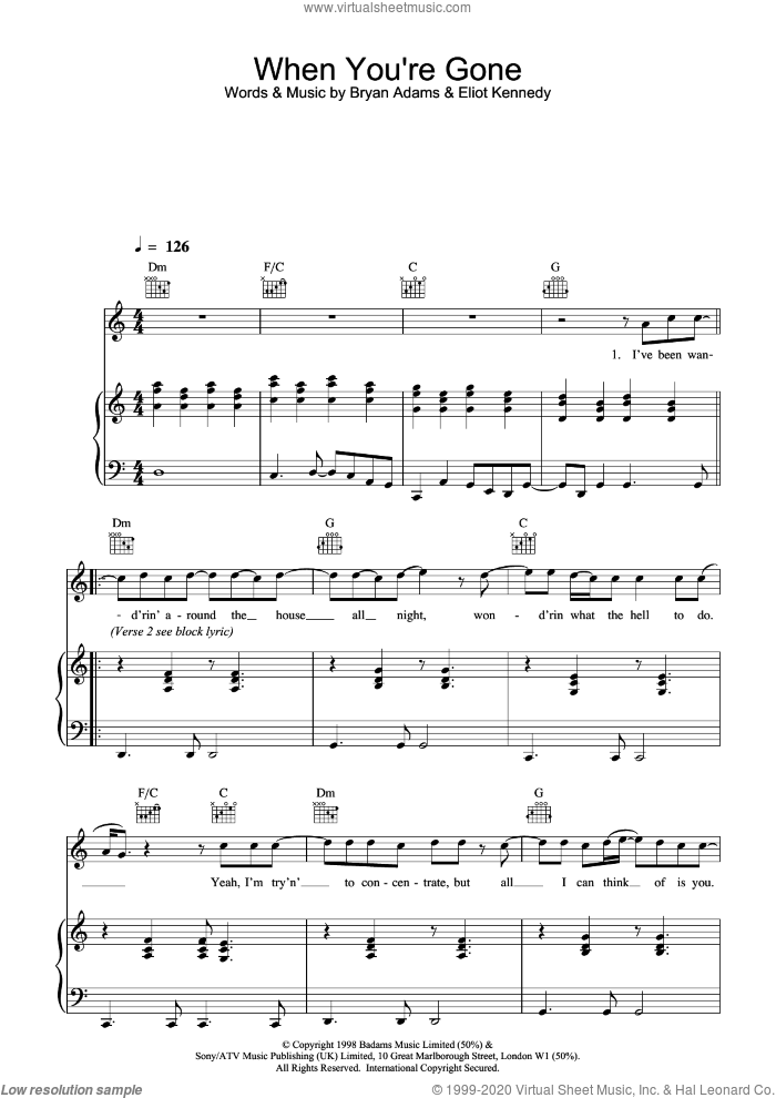 When You're Gone sheet music for voice, piano or guitar by Bryan Adams, intermediate voice, piano or guitar. Score Image Preview.