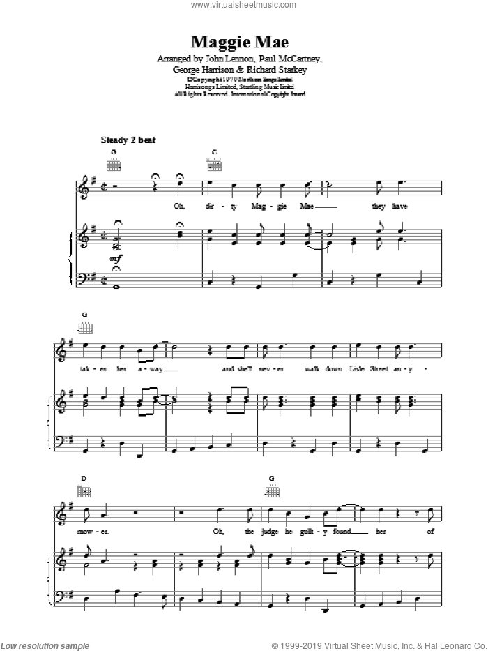 Maggie Mae sheet music for voice, piano or guitar by The Beatles, intermediate. Score Image Preview.