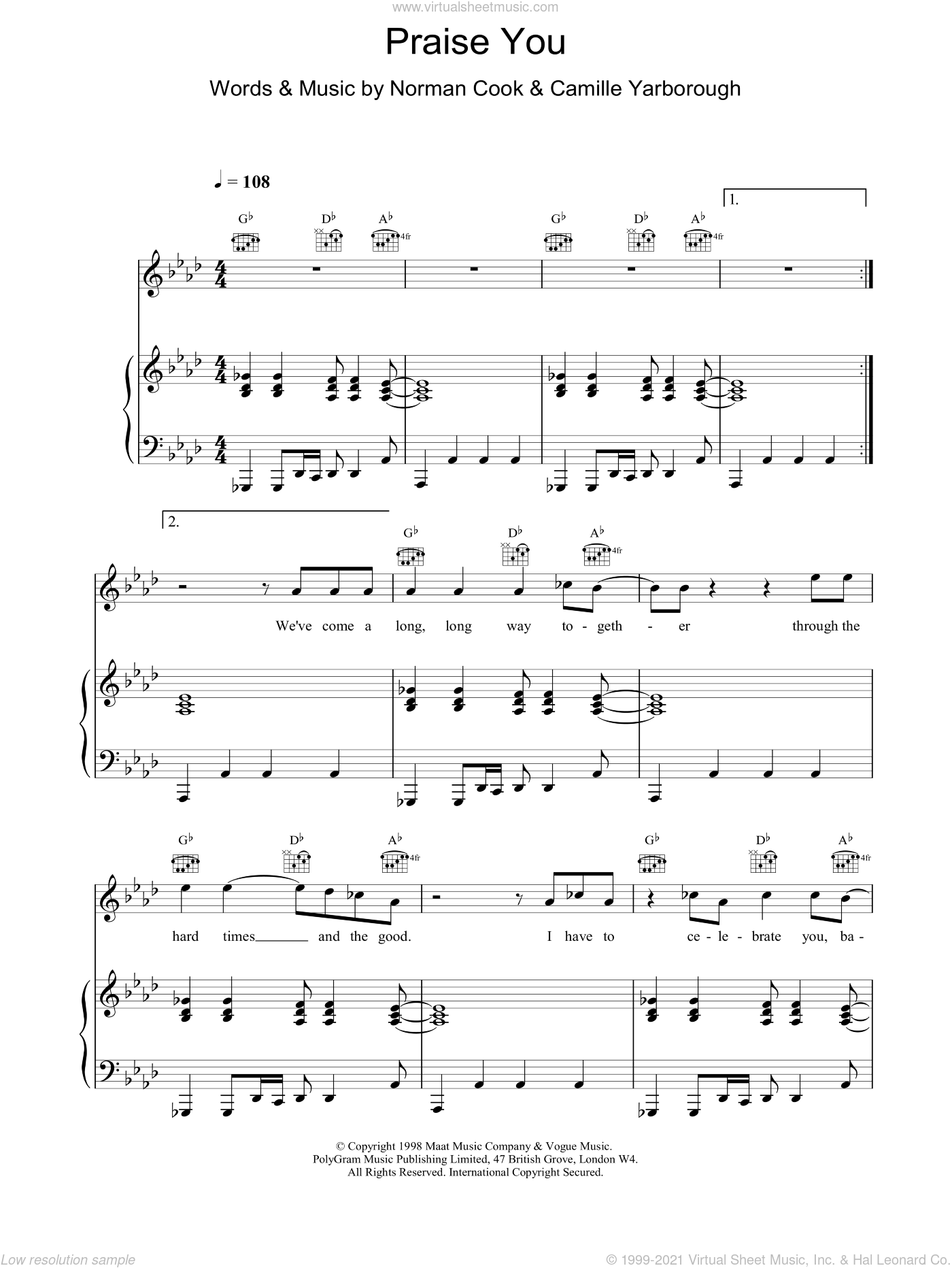 Praise You sheet music for voice, piano or guitar by Fatboy Slim, intermediate skill level