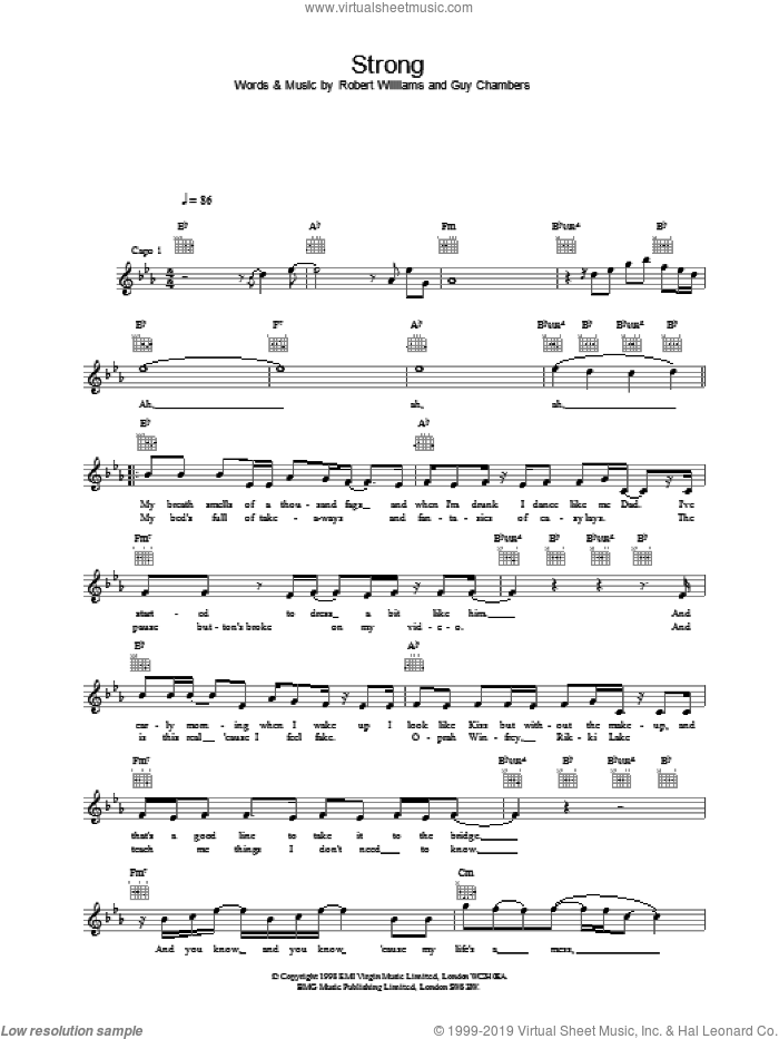Strong sheet music for voice and other instruments (fake book) by Robbie Williams. Score Image Preview.