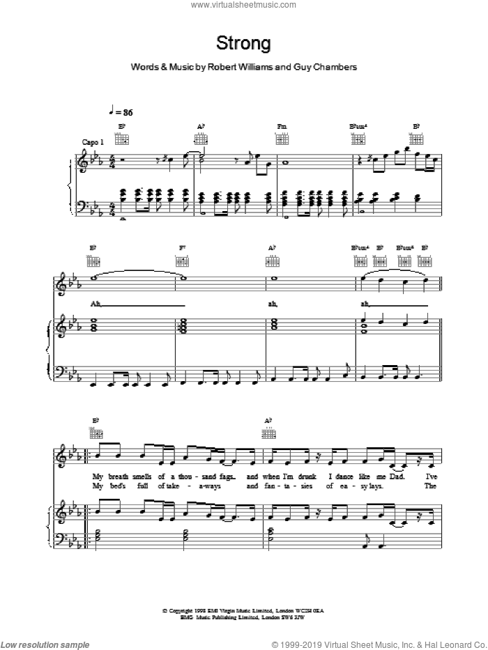 Strong sheet music for voice, piano or guitar by Robbie Williams, intermediate skill level