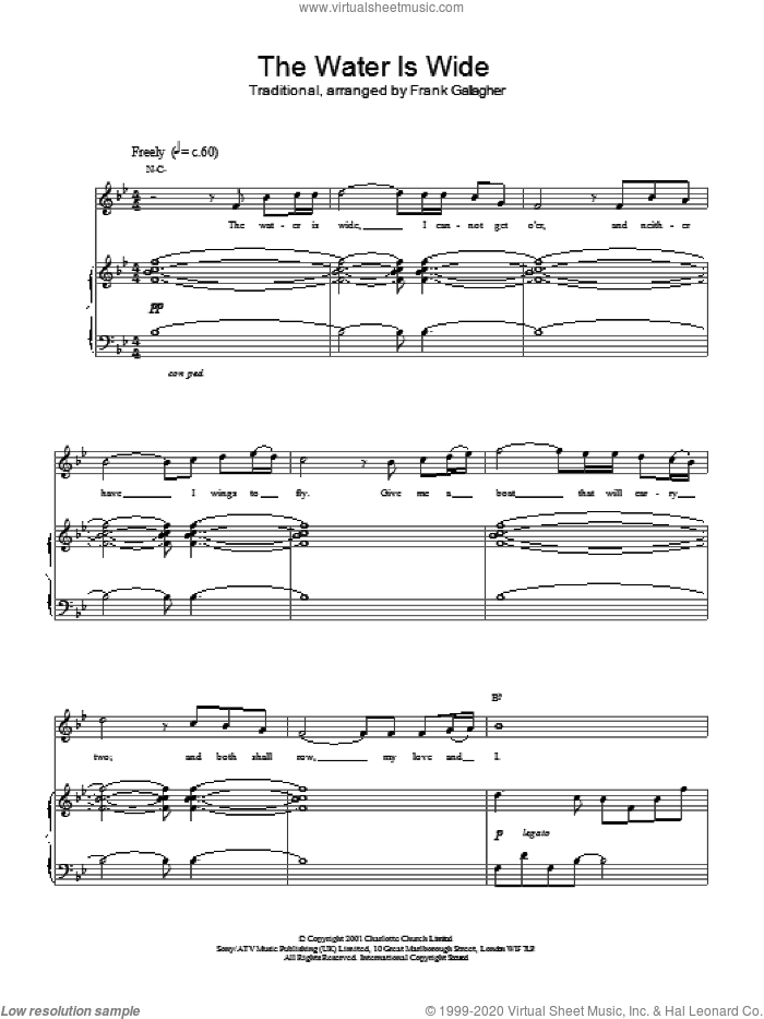 The Water Is Wide sheet music for voice, piano or guitar by Charlotte Church and Miscellaneous, intermediate. Score Image Preview.