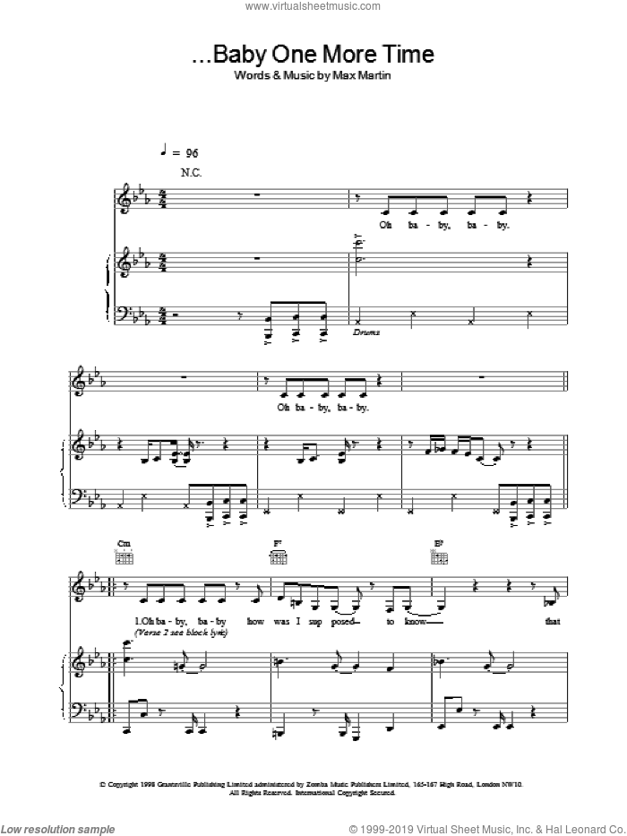 Baby One More Time sheet music for voice, piano or guitar by Britney Spears. Score Image Preview.