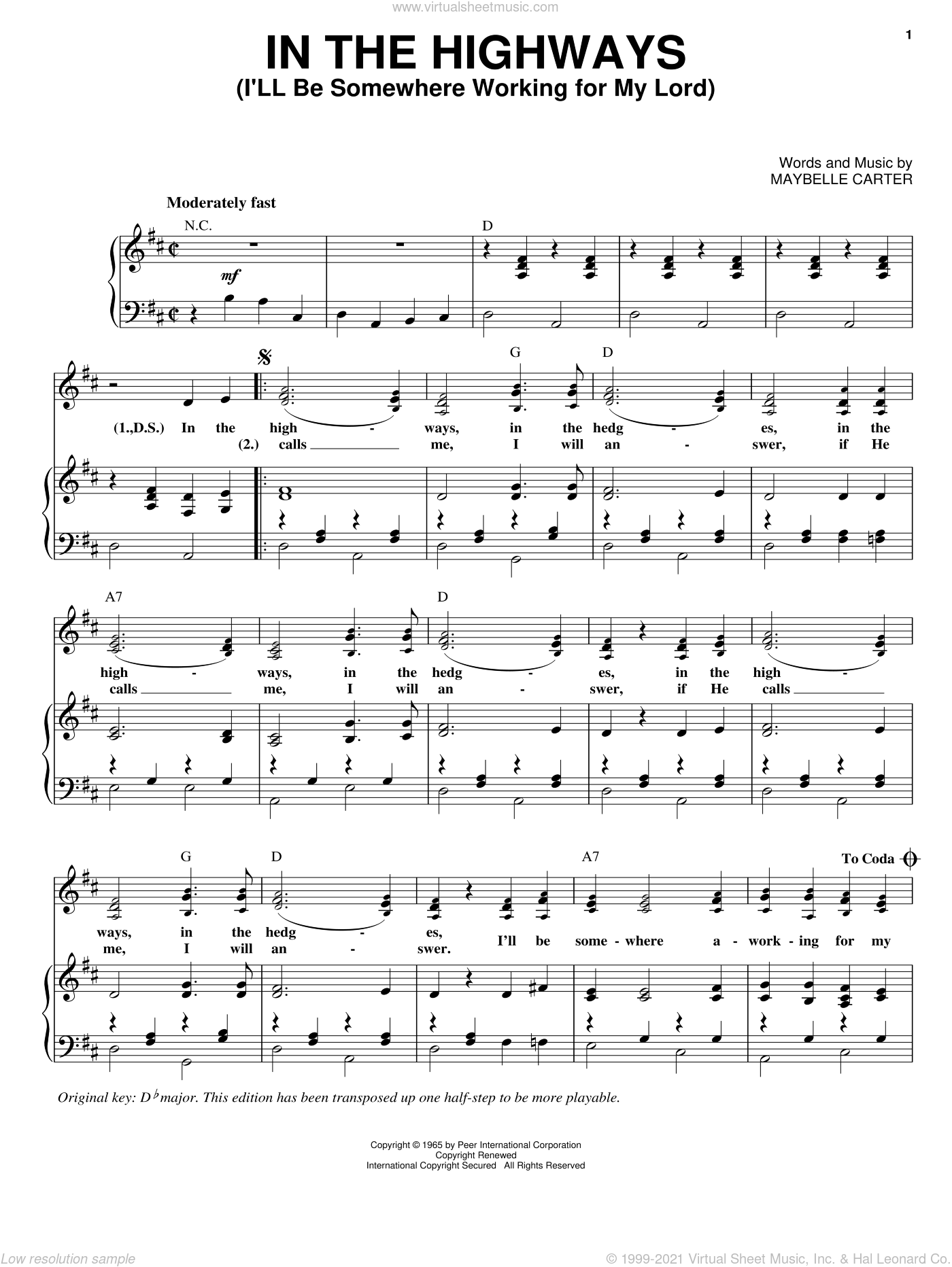 In The Highways (I'll Be Somewhere Working For My Lord) sheet music for voice and piano by Maybelle Carter