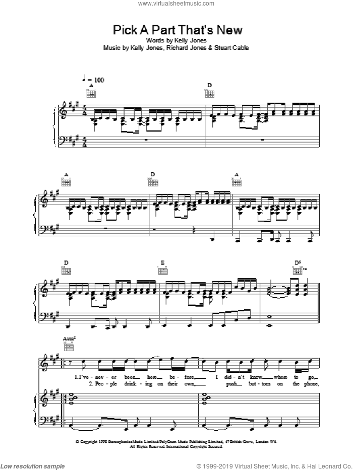 Pick A Part That's New sheet music for voice, piano or guitar by Stereophonics. Score Image Preview.
