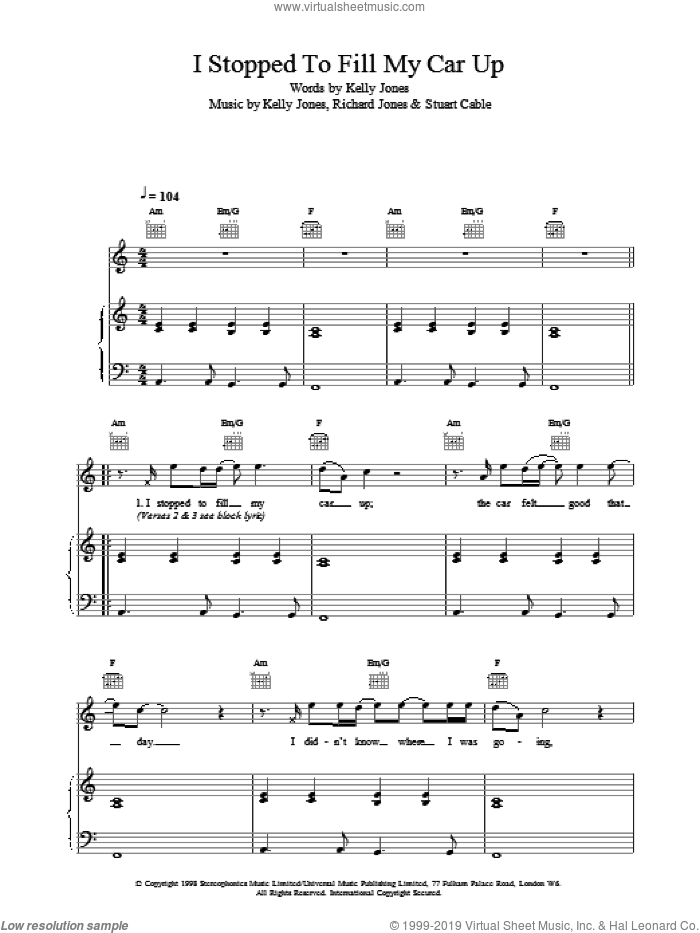 I Stopped To Fill My Car Up sheet music for voice, piano or guitar by Stereophonics, intermediate