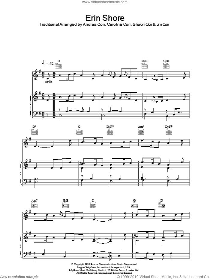 Erin Shore sheet music for voice, piano or guitar by The Corrs