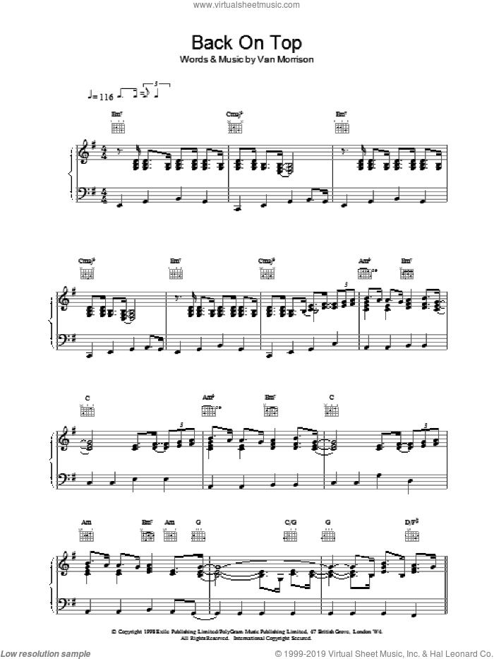 Back On Top sheet music for voice, piano or guitar by Van Morrison, intermediate skill level