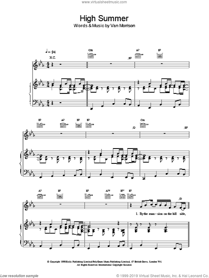 High Summer sheet music for voice, piano or guitar by Van Morrison. Score Image Preview.