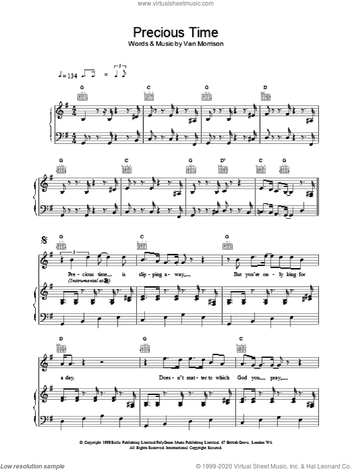 Precious Time sheet music for voice, piano or guitar by Van Morrison, intermediate. Score Image Preview.