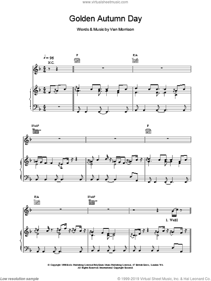 Golden Autumn Day sheet music for voice, piano or guitar by Van Morrison, intermediate skill level