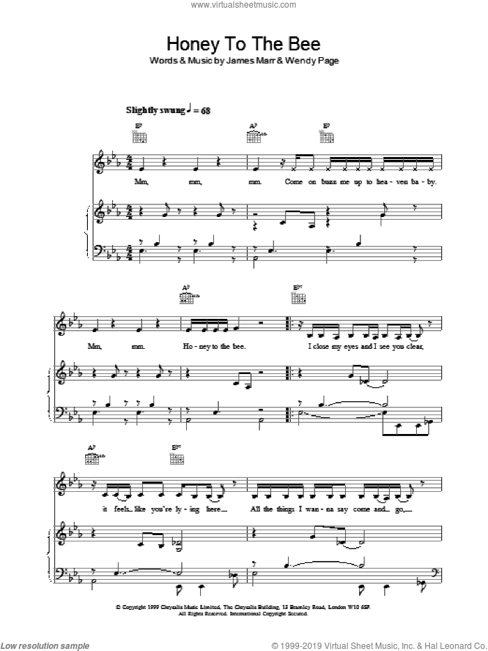 Honey to the Bee sheet music for voice, piano or guitar by Billie Piper. Score Image Preview.