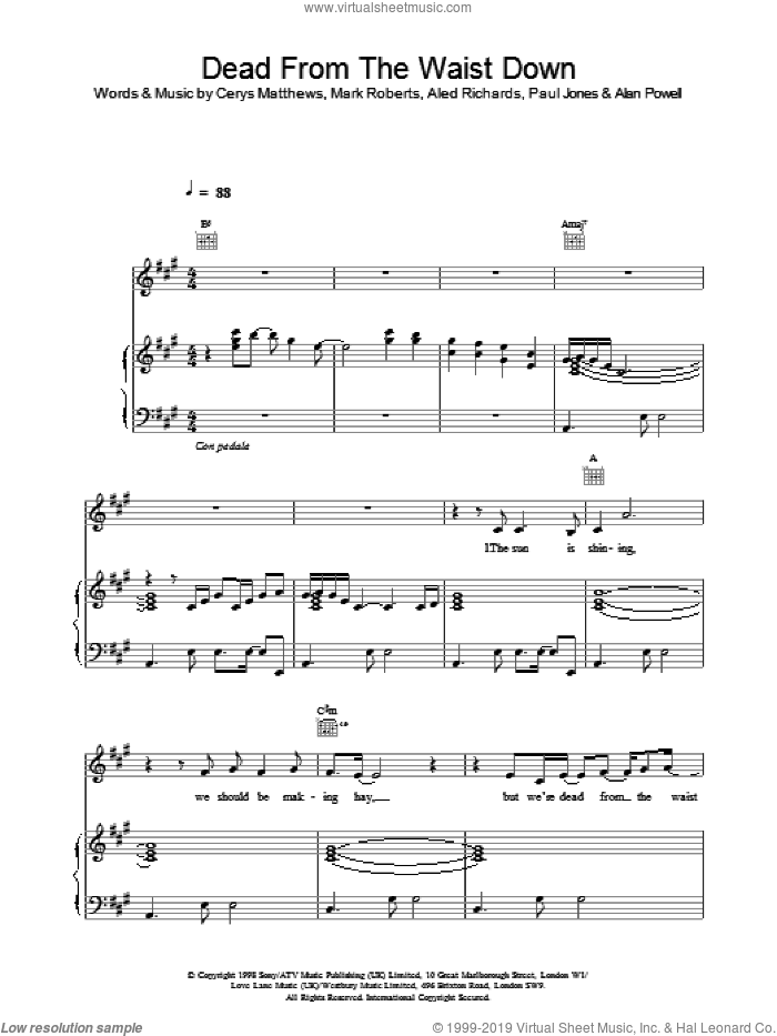 Dead From The Waist Down sheet music for voice, piano or guitar by Catatonia, intermediate skill level