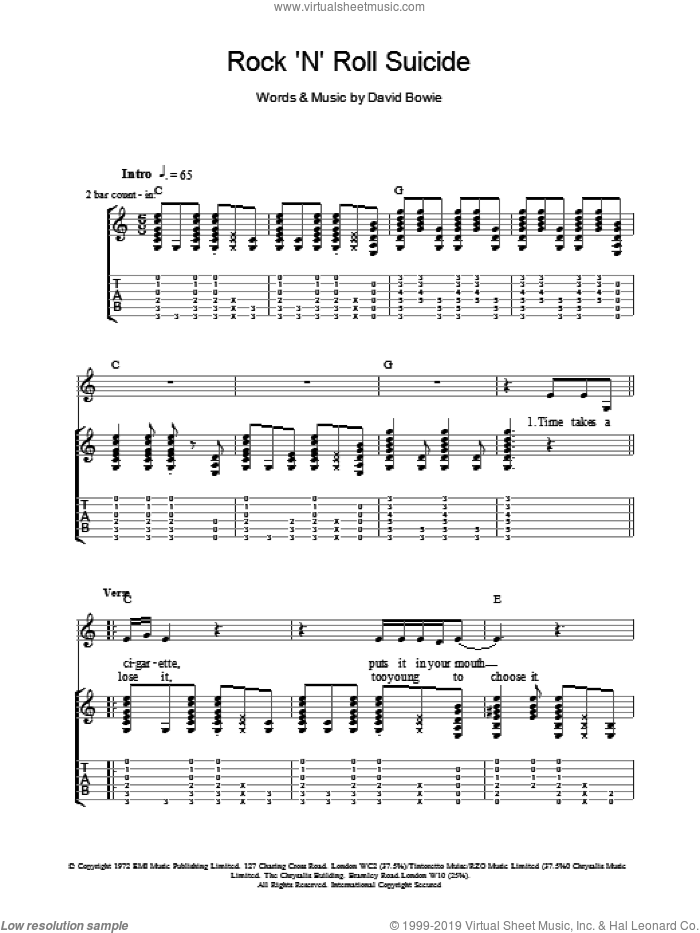 Rock 'N' Roll Suicide sheet music for guitar (tablature) by David Bowie. Score Image Preview.