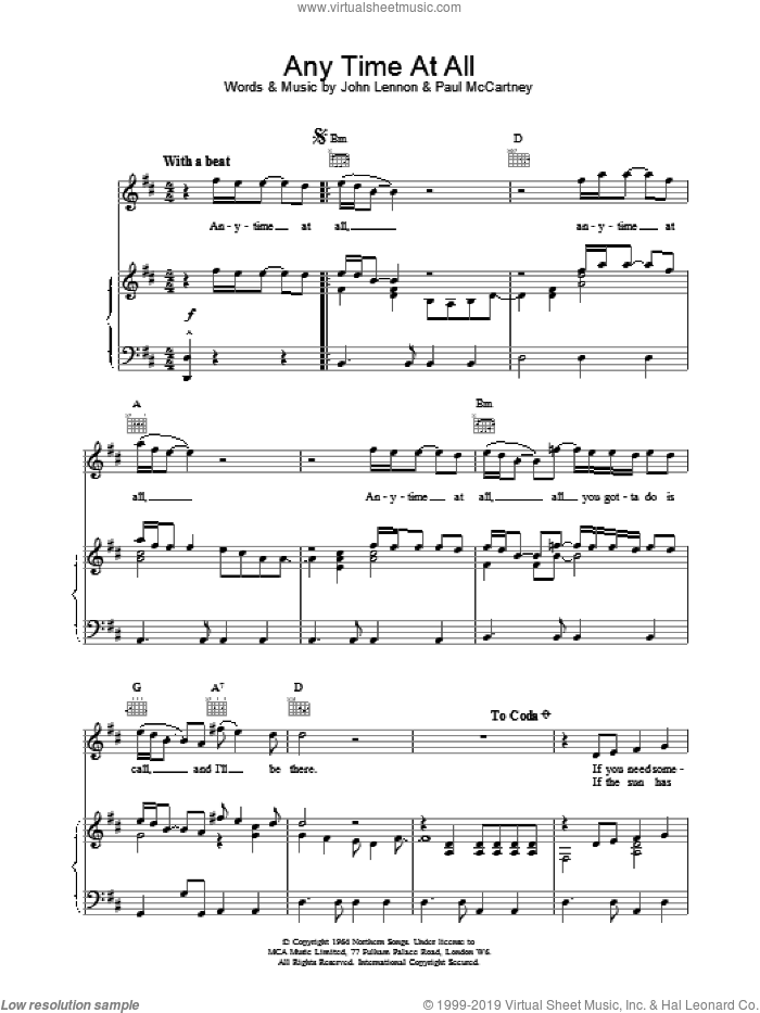 Any Time At All sheet music for voice, piano or guitar by The Beatles, intermediate skill level