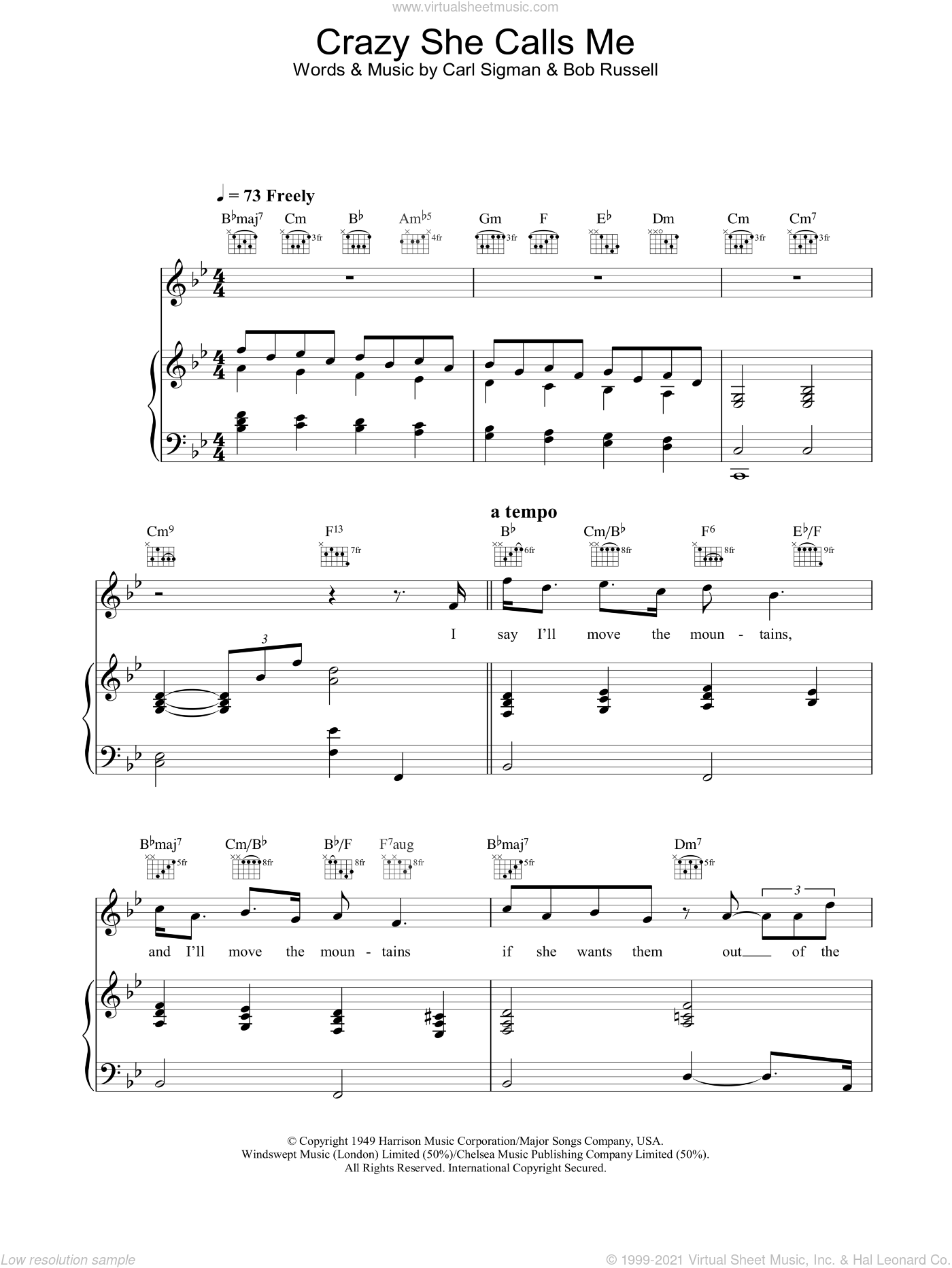 Crazy She Calls Me sheet music for voice, piano or guitar by Rod Stewart. Score Image Preview.