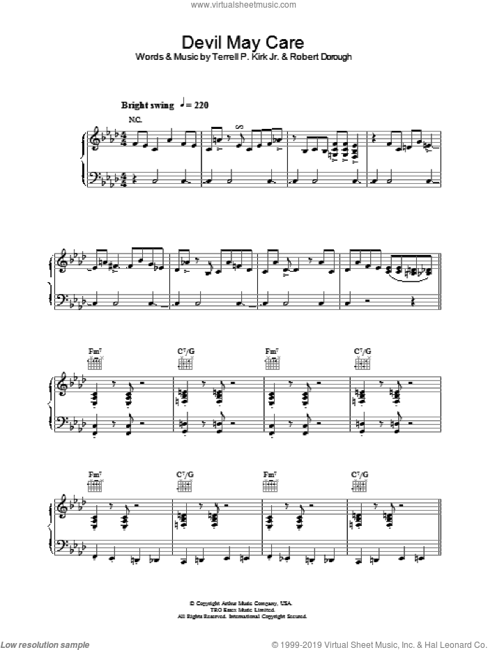 Devil May Care sheet music for voice, piano or guitar by Jamie Cullum and Bob Dorough, intermediate voice, piano or guitar. Score Image Preview.