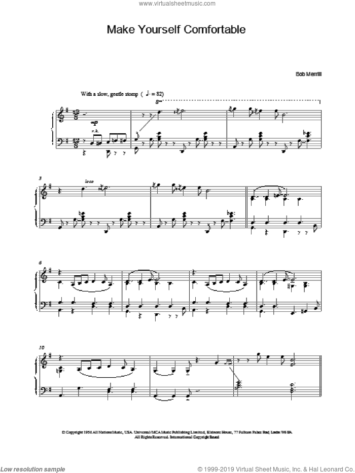 Make Yourself Comfortable sheet music for piano solo by Bob Merrill. Score Image Preview.
