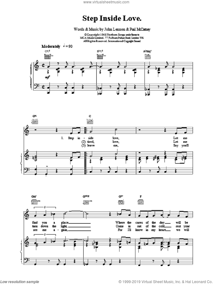 Step Inside Love sheet music for voice, piano or guitar by The Beatles, intermediate skill level