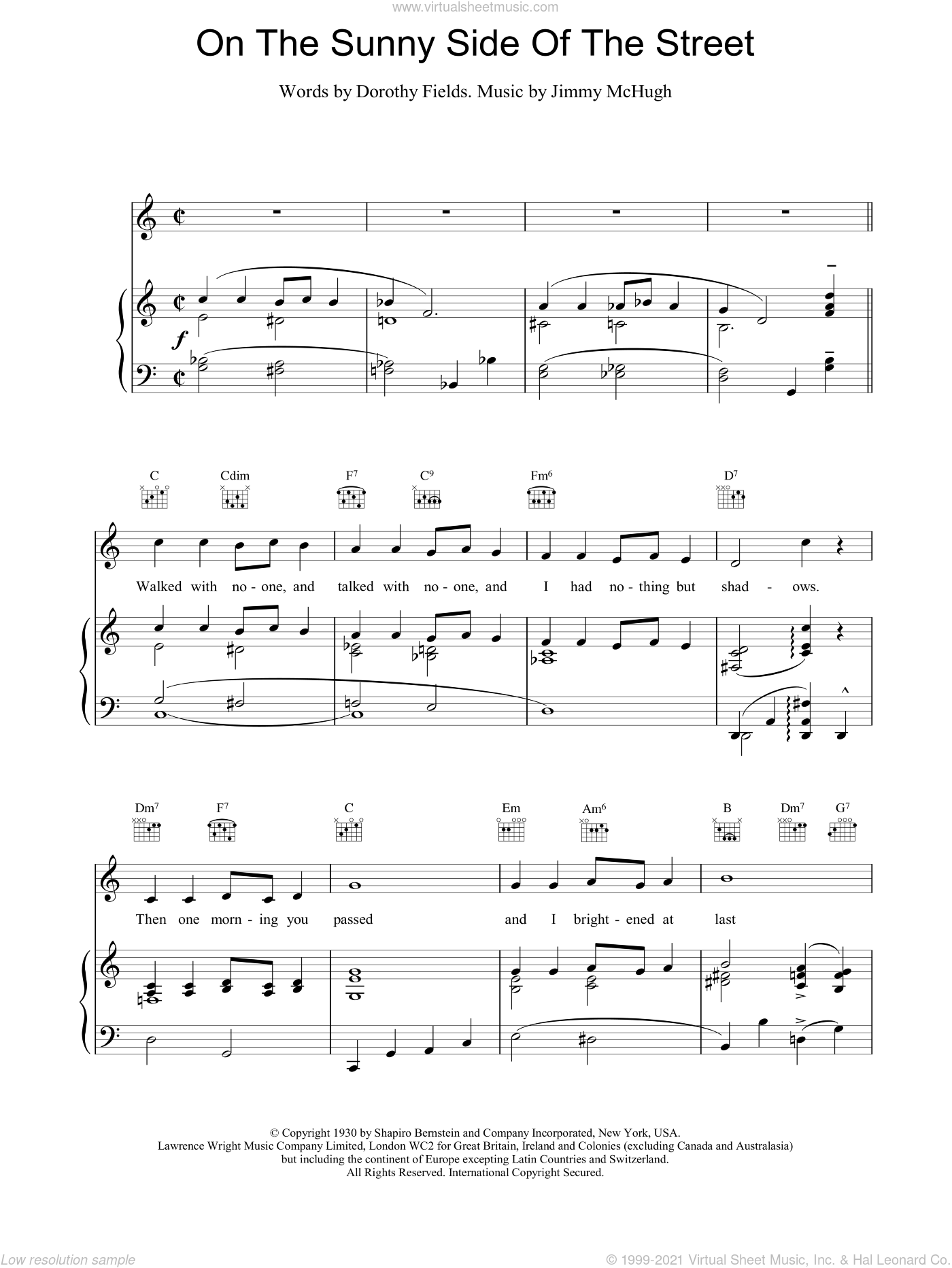 On The Sunny Side Of The Street sheet music for voice, piano or guitar by Jimmy McHugh