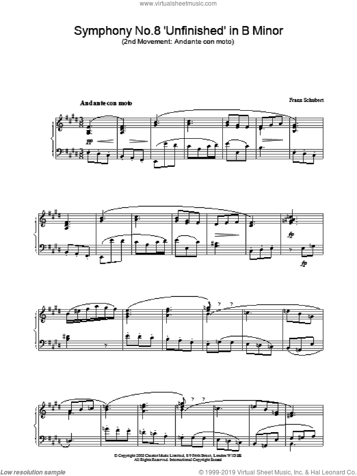 Symphony No.8 'Unfinished' in B Minor - 2nd Movement: Andante con moto sheet music for piano solo by Franz Schubert, classical score, intermediate skill level