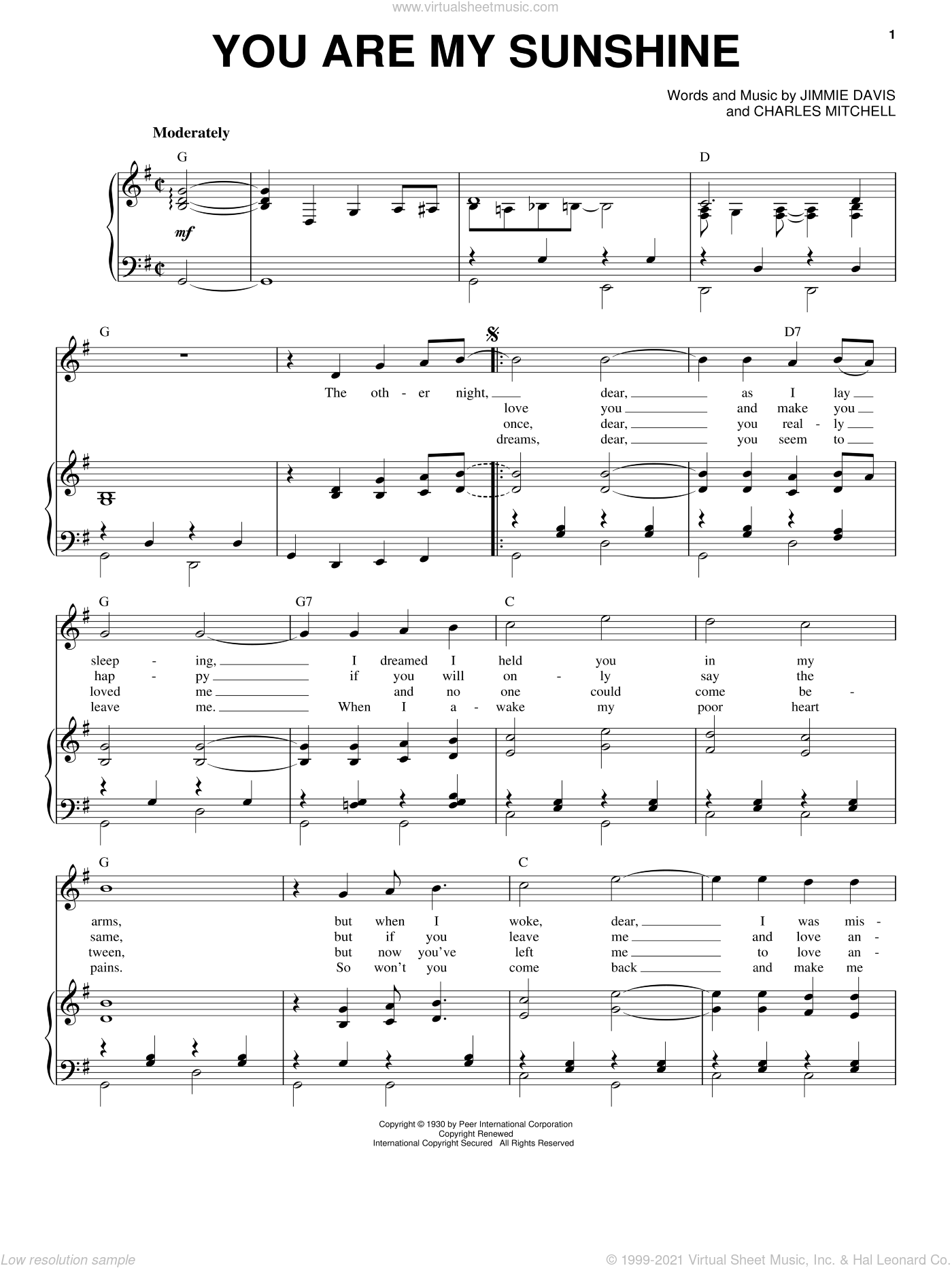 You Are My Sunshine sheet music for voice and piano by Charles Mitchell