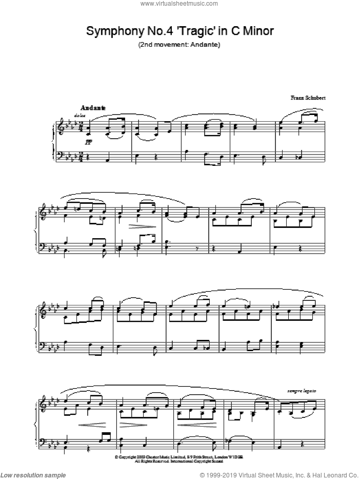 Symphony No.4 'Tragic' in C Minor - 2nd Movement: Andante sheet music for piano solo by Franz Schubert, classical score, intermediate skill level
